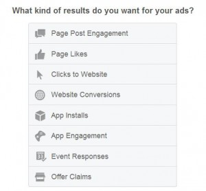 choosing facebook advertising options